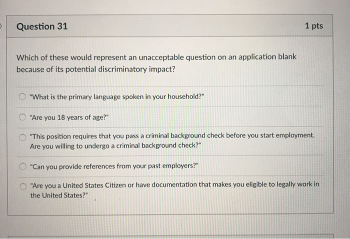 questions on a criminal background check