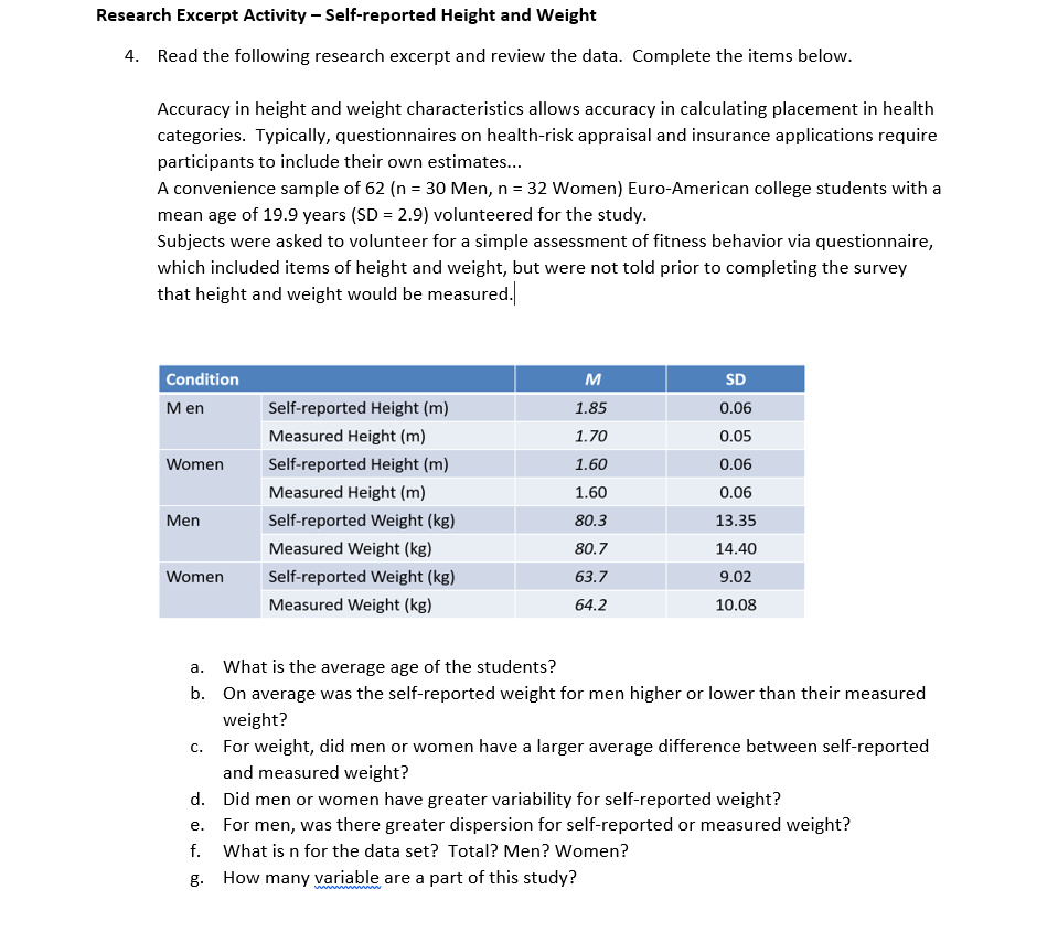 Solved: Research Excerpt Activity Self-reported Height And