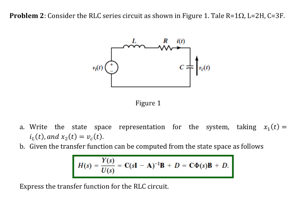 Solved: Problem 2: Consider The RLC Series Circuit As Show ...