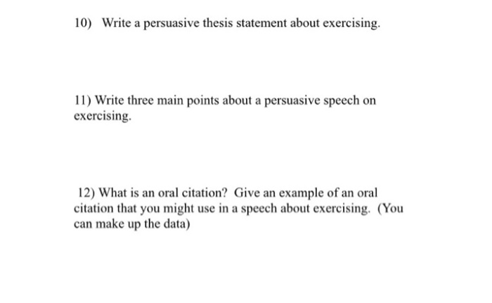 persuasive speech on exercise main points