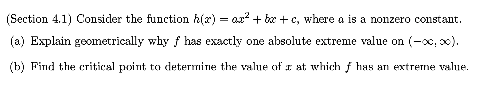 Solved: (Section 4.1) Consider The Function H(x) = Ax+ Bx