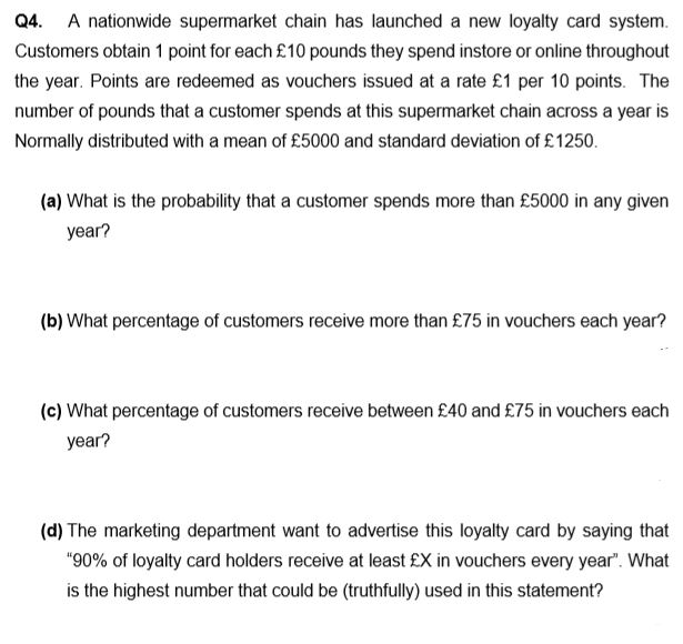 Solved: Q4. A Nationwide Supermarket Chain Has Launched A ... | Chegg.com