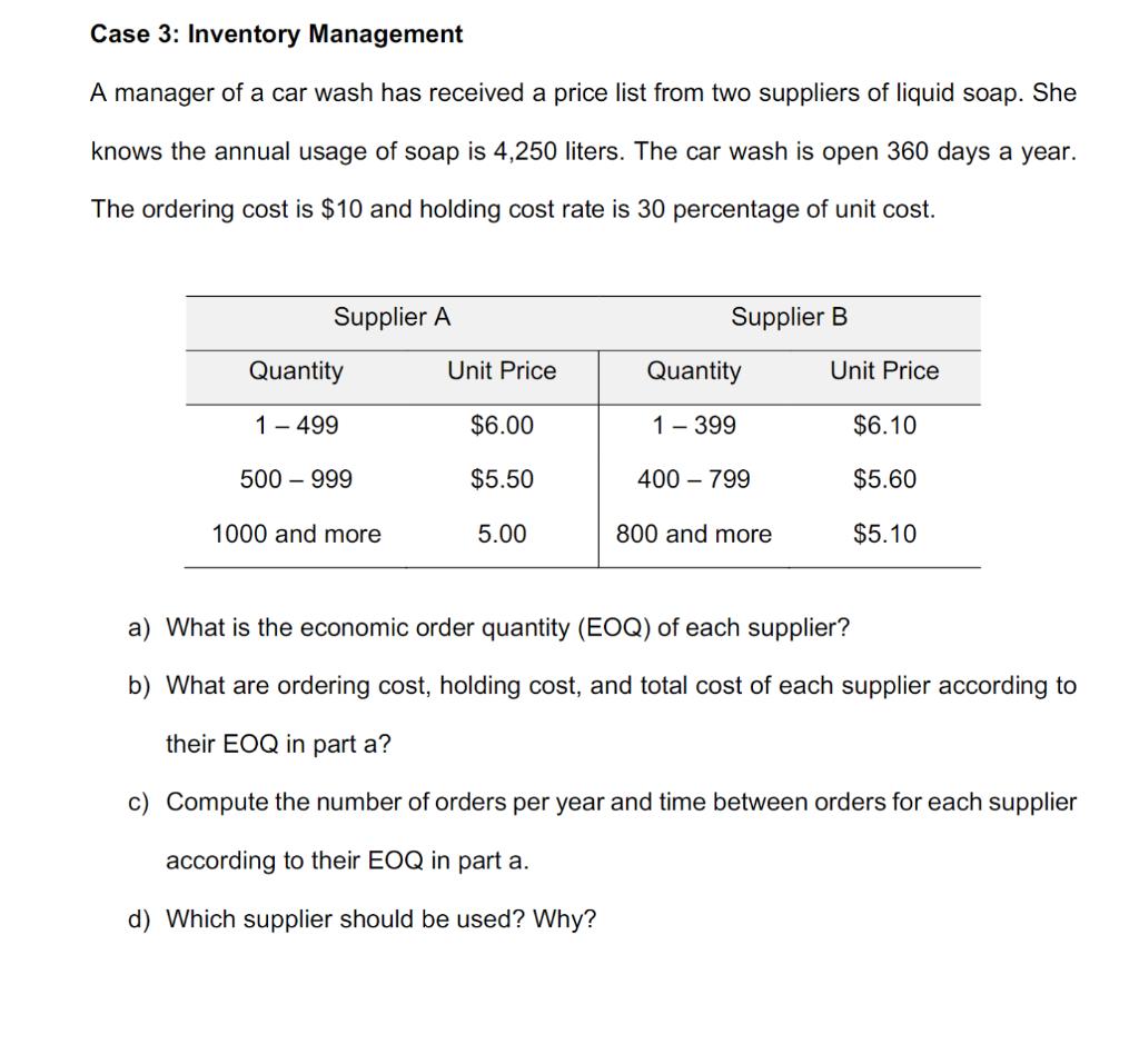 Solved Case 3 Inventory Management A Manager Of A Car Wa Chegg Com
