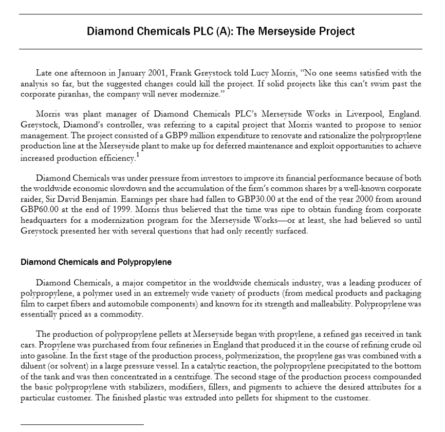 diamond chemicals plc (a): the merseyside project pdf