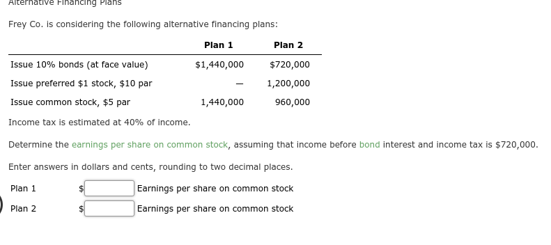 frey co. is considering the following alternative financing plans: