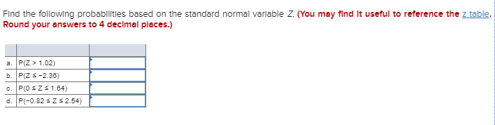 Find the following probabilities based on the standard normal varlable Z. (You may find it useful to reference the z table. R