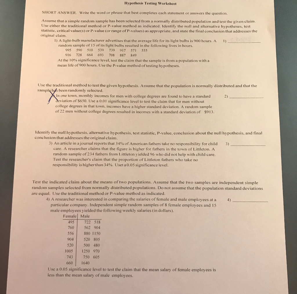 Solved Hypothesis Testing Worksheet Short Answer Write T Chegg Com [ 1012 x 1024 Pixel ]