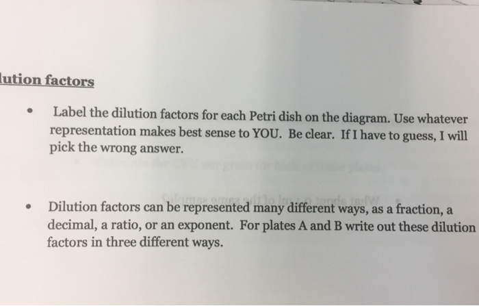lution factors Label the dilution factors for each Petri dish on the diagram. Use whatever representation makes best sense to