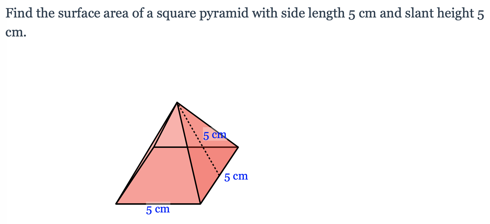 Solved Find the surface area of a square pyramid with side  Chegg.com