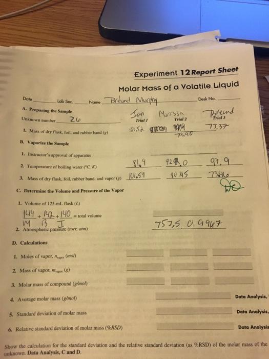 molar mass of a volatile liquid lab report answers EXPERIMENT 12: MOLAR MASS OF A VOLATILE LIQUID 1)C... | Chegg.com