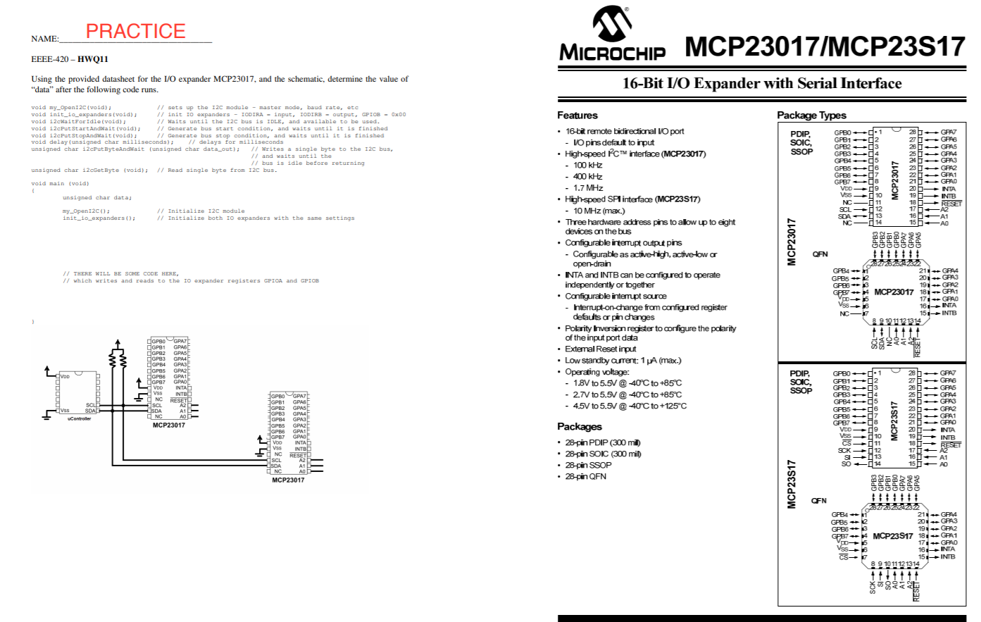 MICROCHI MCP23S17-E//SO SOIC-28 16-Bit I//O Expander