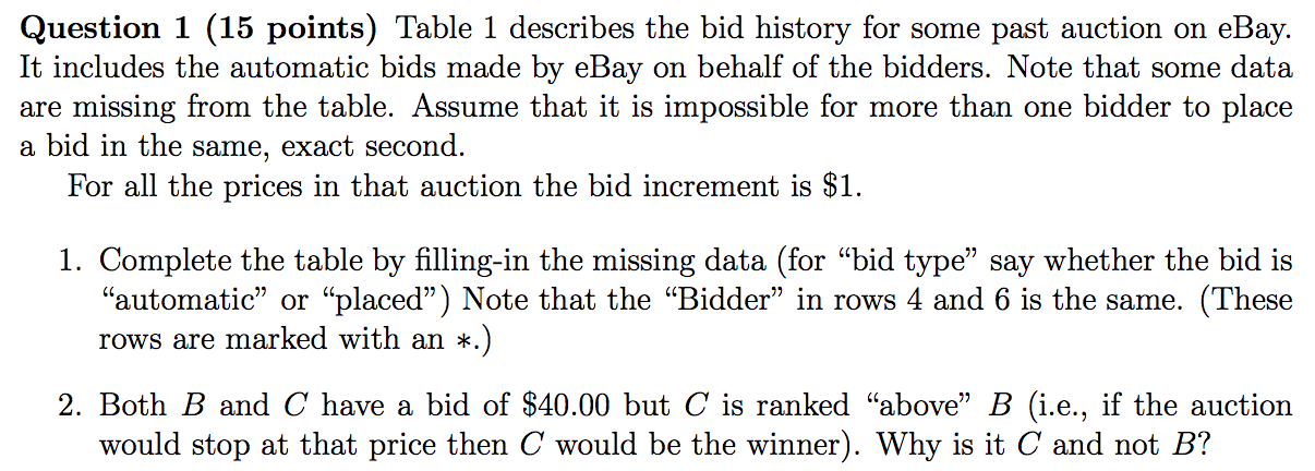 Question 1 15 Points Table 1 Describes The Bid H Chegg Com
