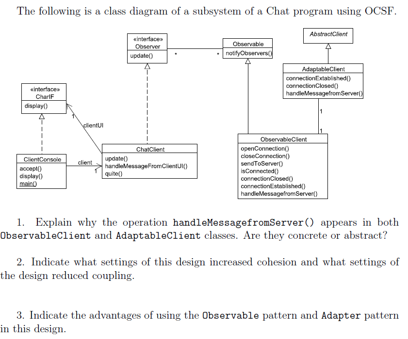 The Following Is A Class Diagram Of A Subsystem Of ...