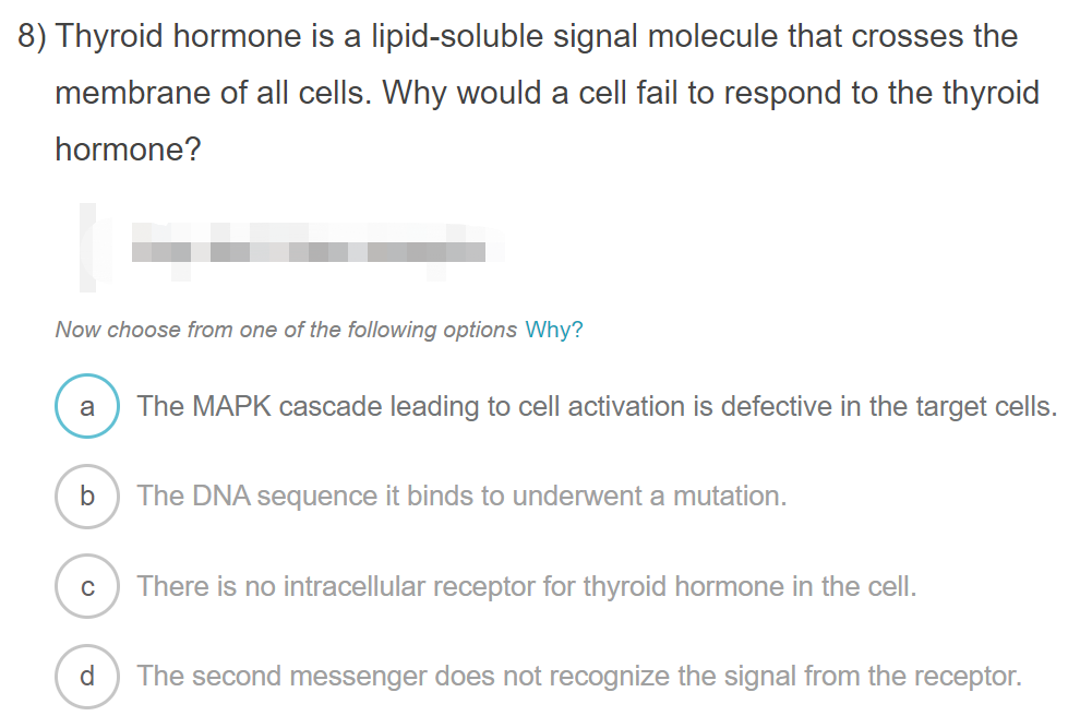 Solved 8 Thyroid Hormone Is A Lipid Soluble Signal Molec Chegg Com
