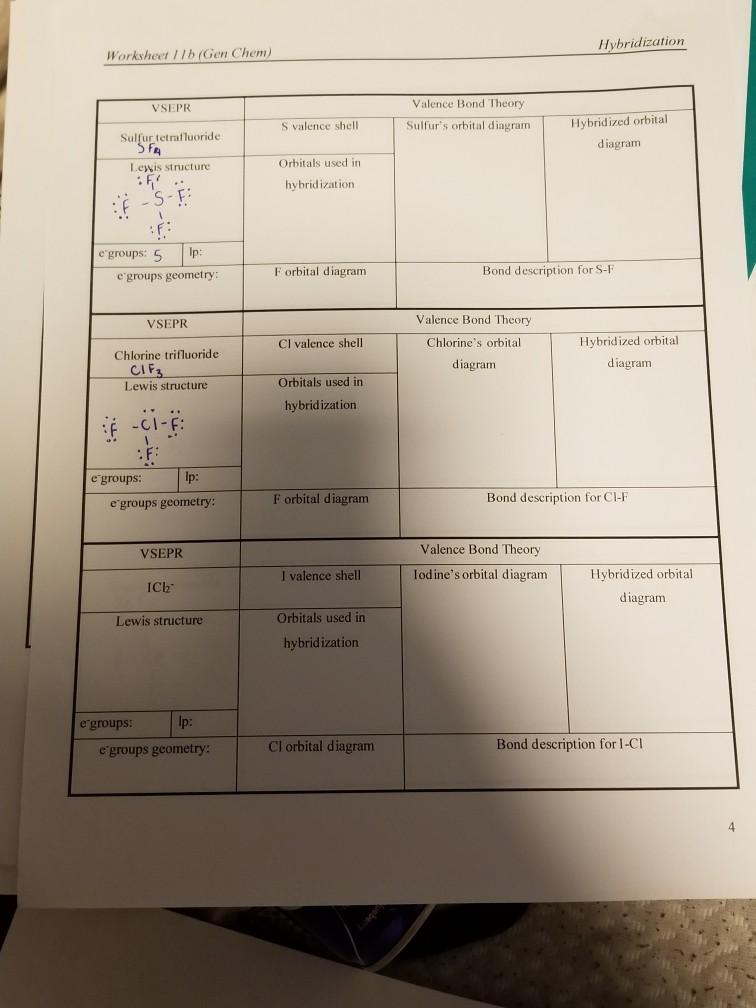 Solved: Hybridization Worksheet 1 Lb (Gen Chem) Valence Bo ...