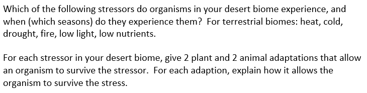 Solved: Which Of The Following Stressors Do Organisms In Y