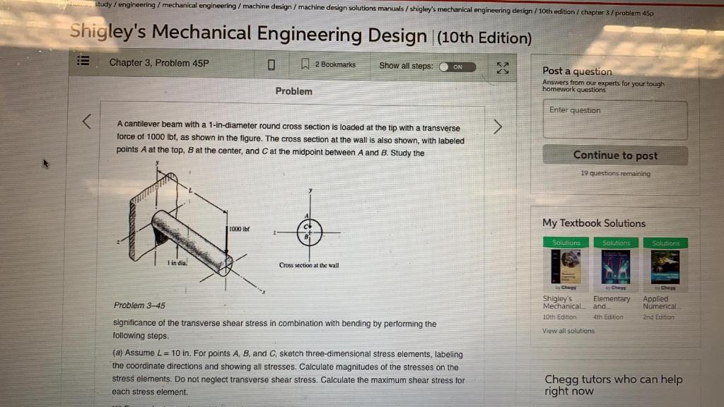 Solved Study Engineering Mechanical Engineering Mac Chegg Com