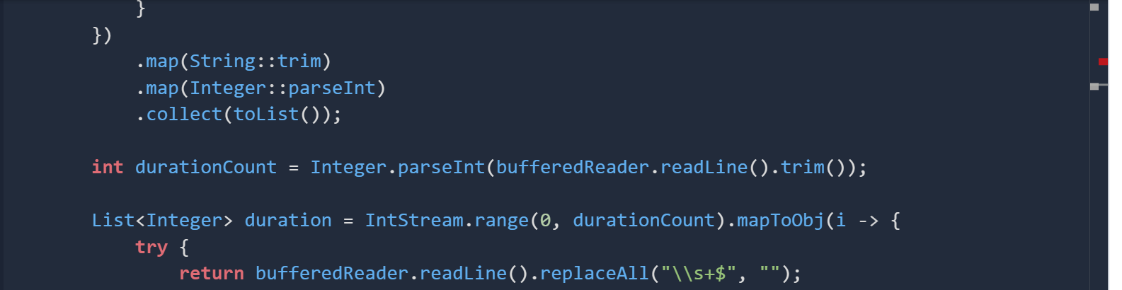 .map(String::trim) .map(Integer::parseInt) .collect(toList()); int durationCount = Integer.parseInt(bufferedReader.readLine()
