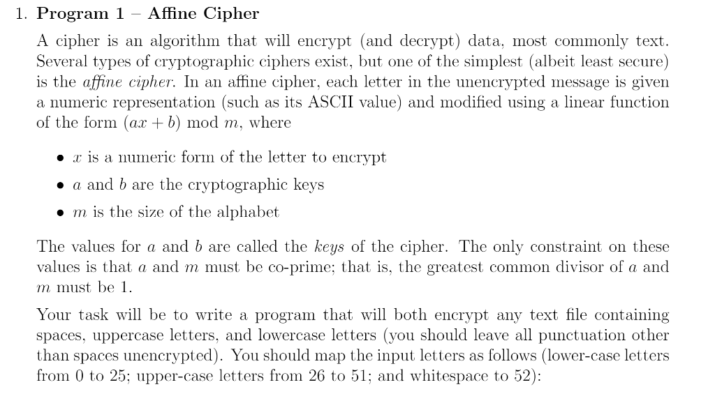 1  Program 1 - Affine Cipher A Cipher Is An Algori