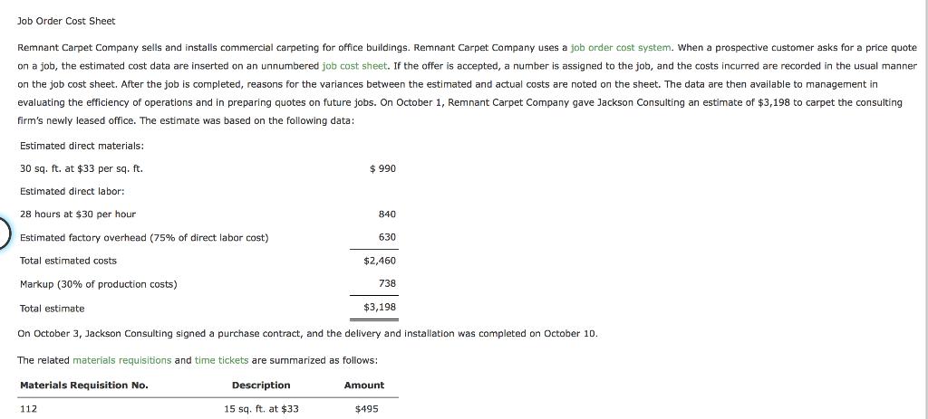 Solved Job Order Cost Sheet Remnant Carpet Company Sells
