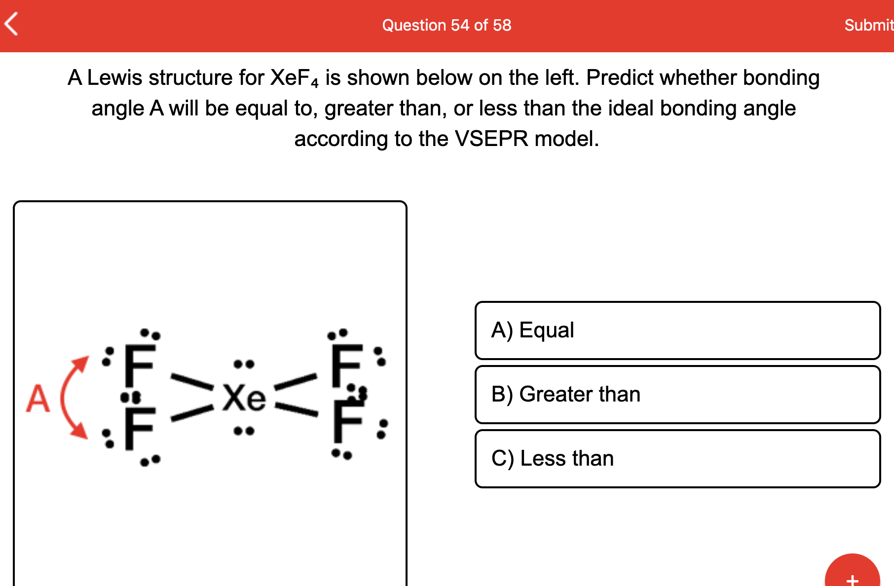 Solved Question 54 Of 58 Submit A Lewis Structure For X Chegg Com