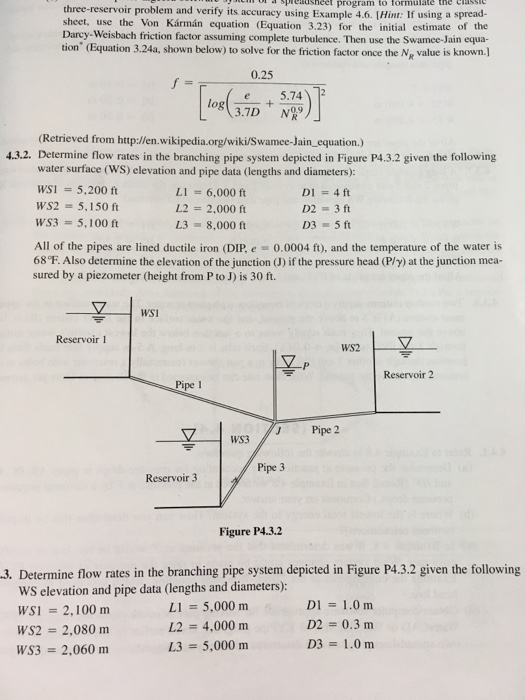 Solved determine flow rates in the branching pipe system for 5150 water pipes
