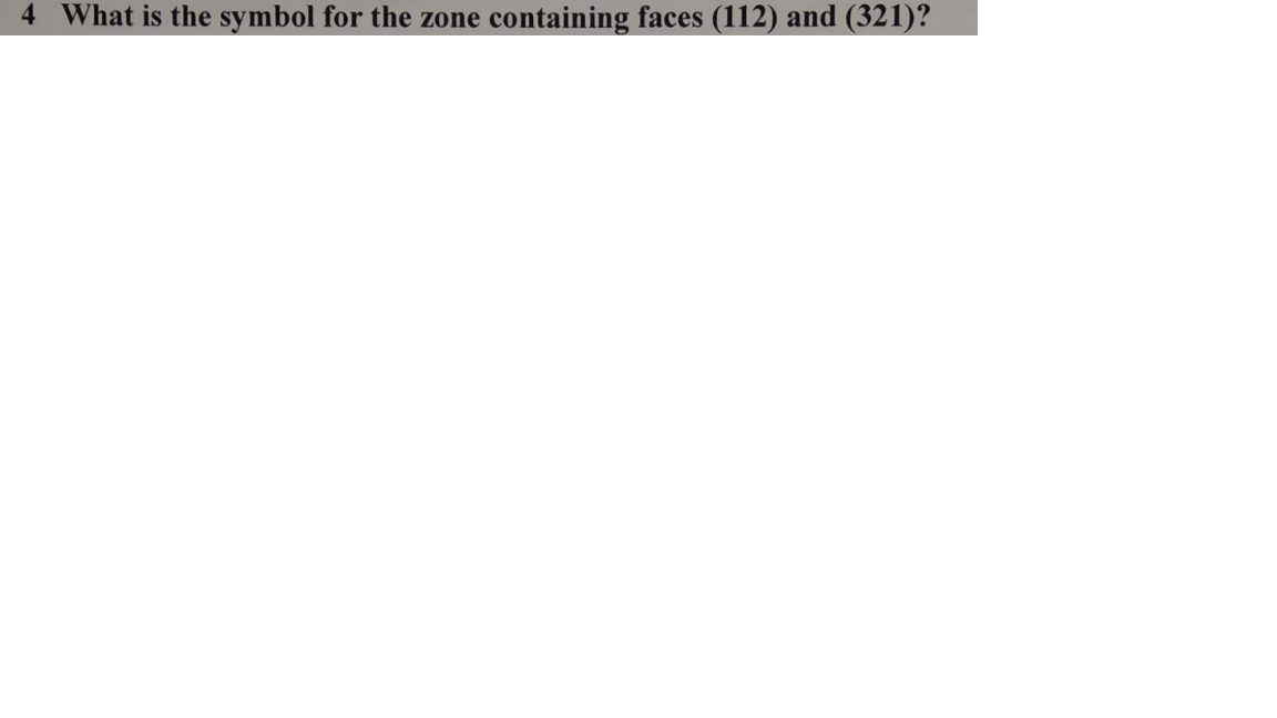 4 What is the symbol for the zone containing faces (112) and (321)?