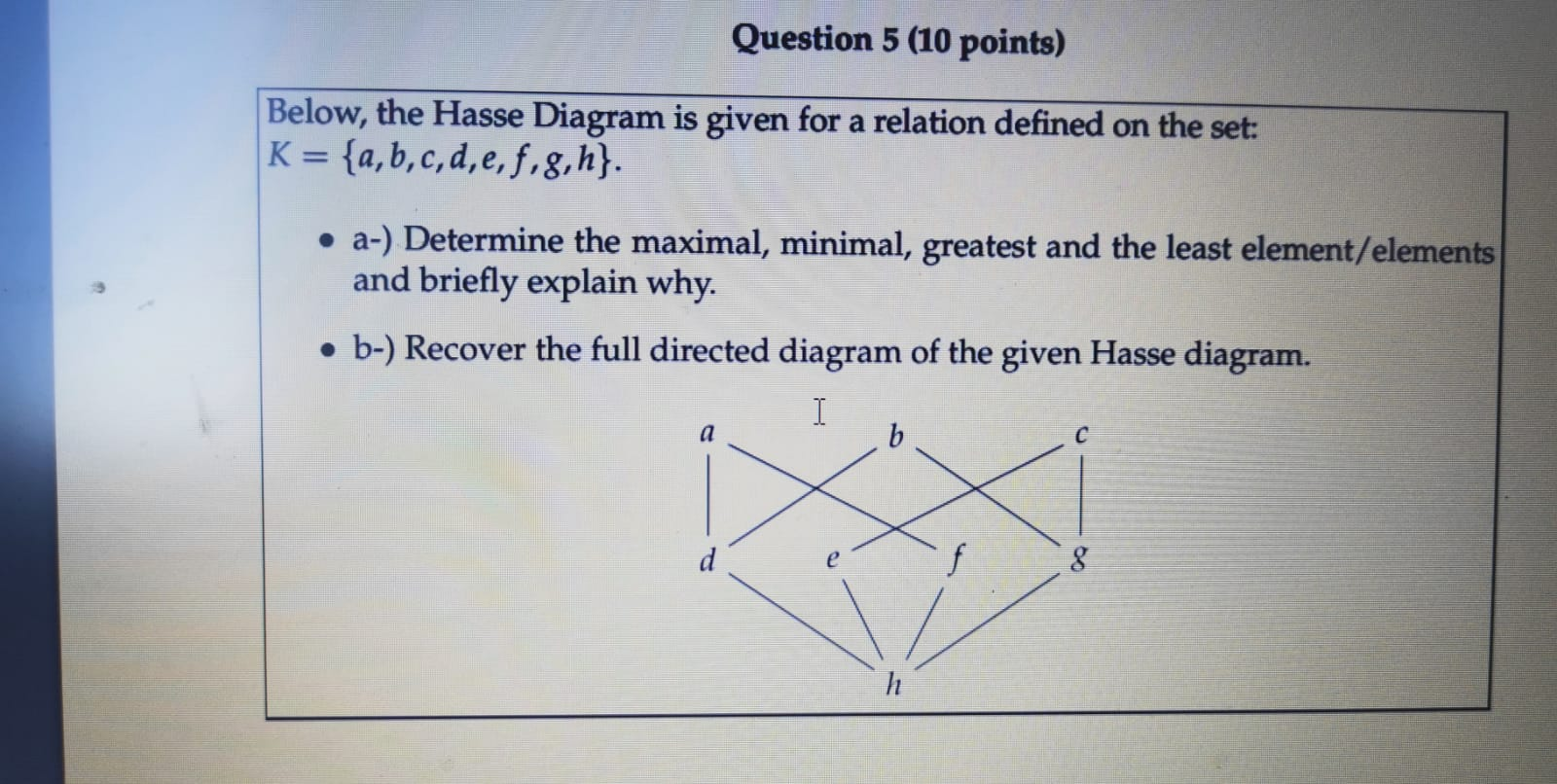 Solved Question 5 10 Points Below The Hasse Diagram Is Chegg Com
