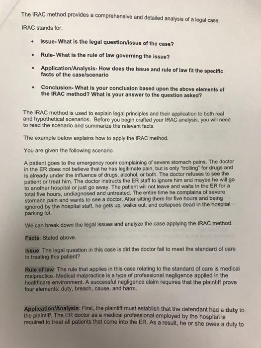 irac method example essay