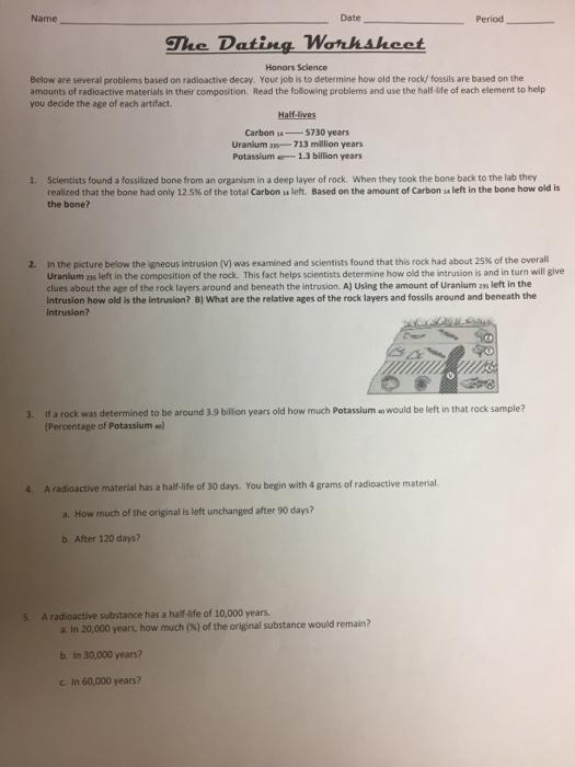 Radioactive dating of rocks worksheet answers