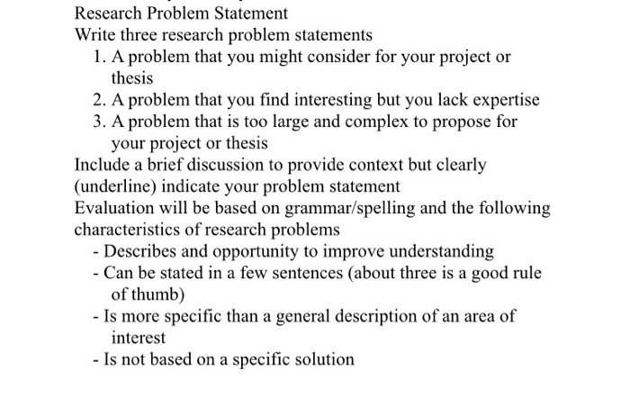 Problem Statement Example For Project