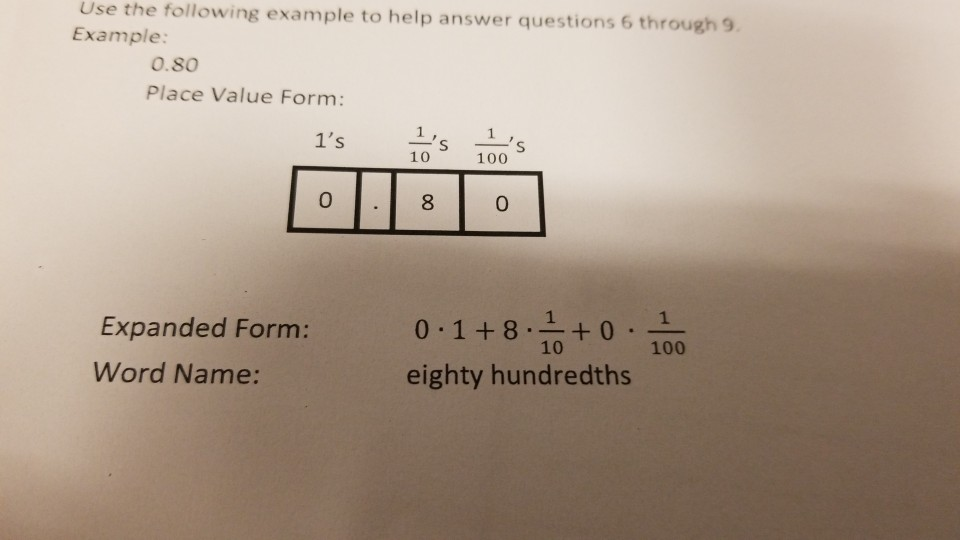 Solved: Use The Following Example To Help Answer Questions ...