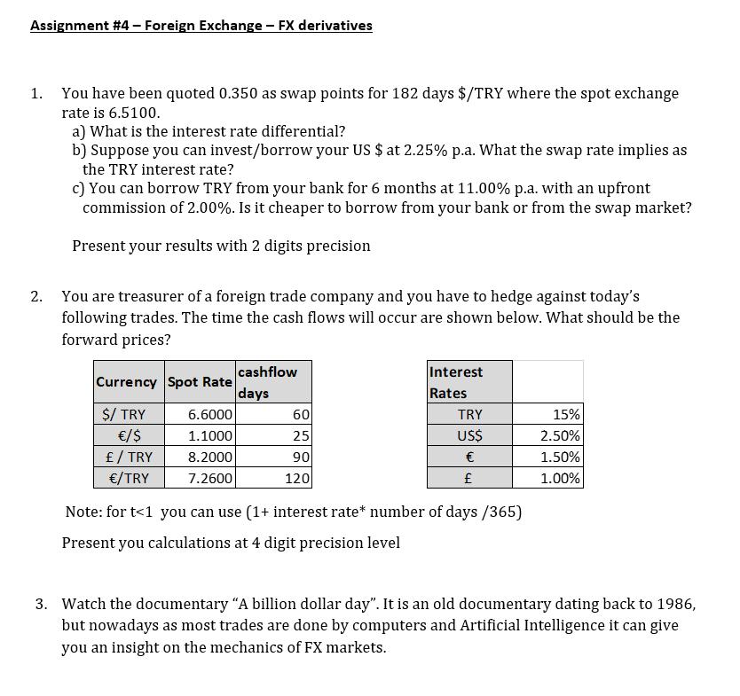 Foreign Exchange Fx Derivatives