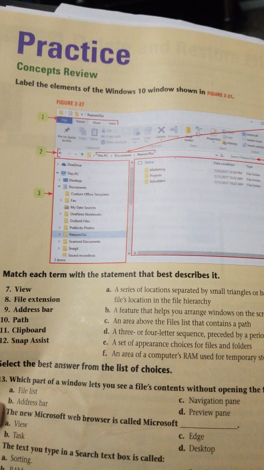 Solved: Match Each Term With The Statement That Best Descr