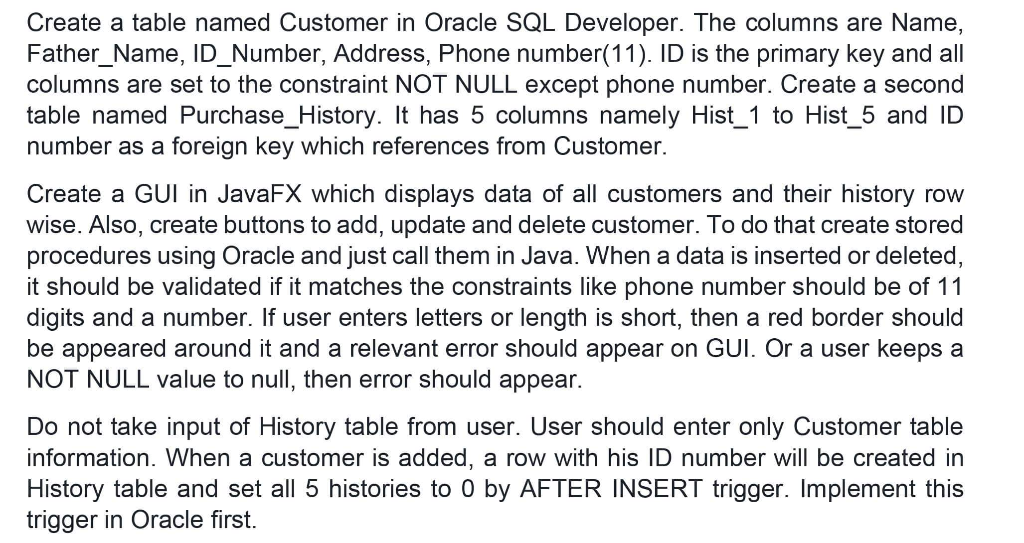 Solved: Create A Table Named Customer In Oracle SQL Develo...   Chegg.com