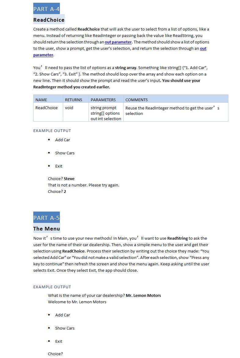 PART A-1 Project Setup Create A C# Console Applica