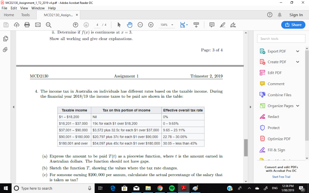 Solved: - O X MCD2130 Assignment_1_T2_2019 V4 pdf - Adobe