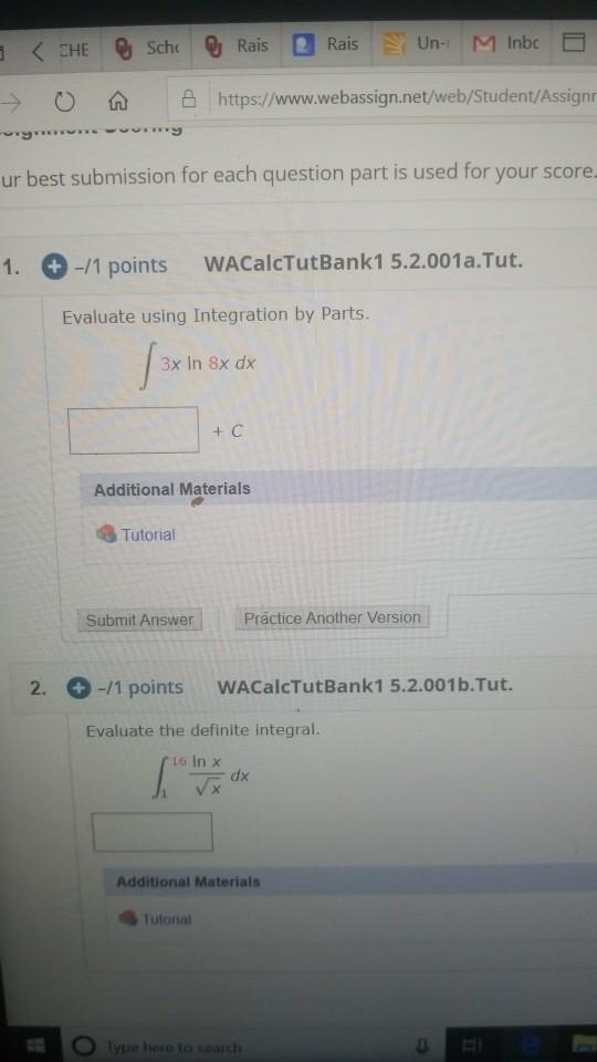 < CHE Q Scho @ Rais Rais Un- M Inbc > 0 https://www.webassign.net/web/Student/Assign -wym ur best submission for each questio