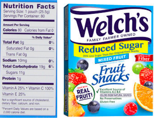 Welchs Nutrition Facts Serving Size: 1 pouch (25.59) Servings Per Container: 80 Amount Per Serving Calories 80 Calories from