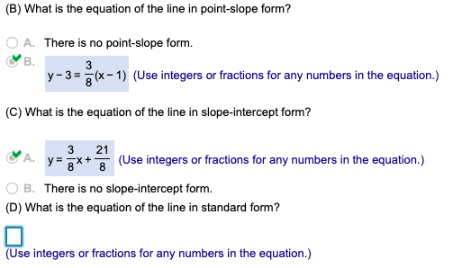 point slope form with fractions  Solved: (B) What Is The Equation Of The Line In Point-slop ...