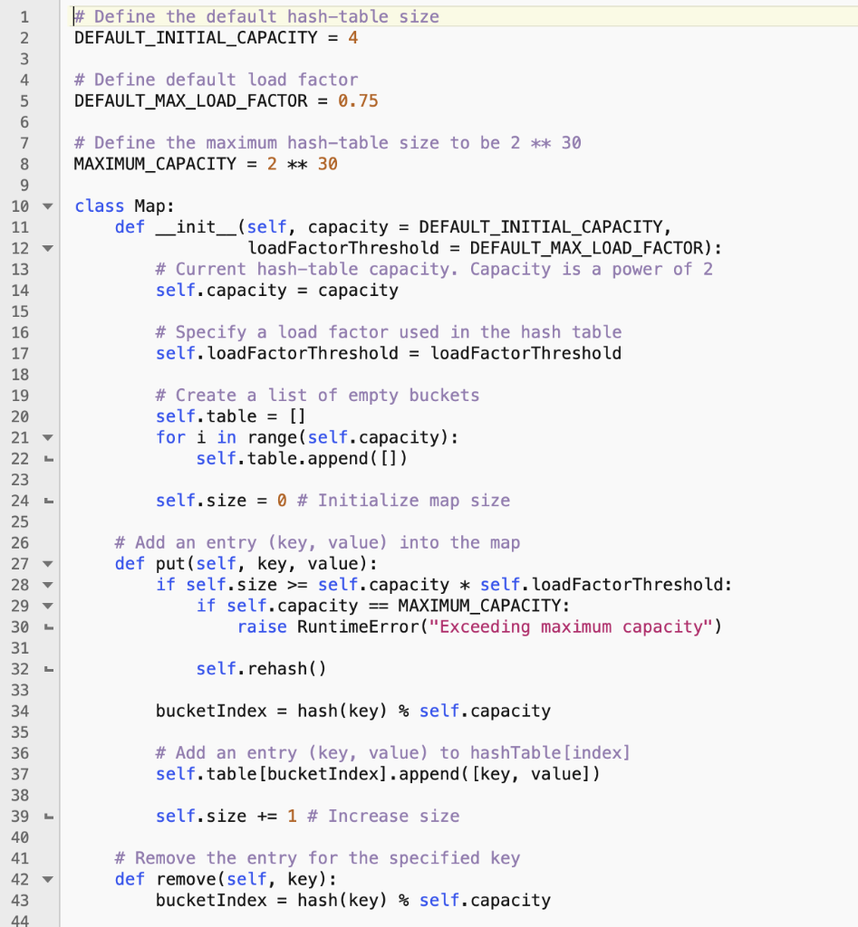 Python Programming Question: (Implement Map Using     | Chegg com