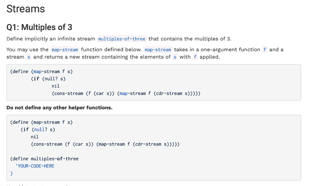 Streams Q1: Multiples Of 3 Define Implicitly An In    | Chegg com