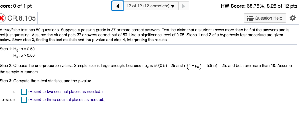 Solved: Core: 0 Of 1 Pt 12 Of 12 (12 Complete) HW Score: 6