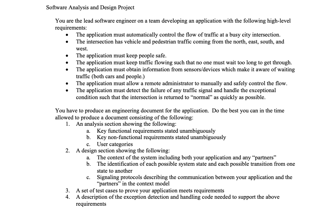 Software Analysis And Design Project You Are The L Chegg Com