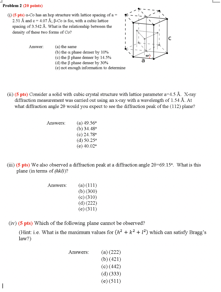 Problem 2 Points I 5 Pts Q Co Has An Hcp Chegg Com