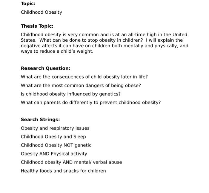 childhood obesity essay introduction