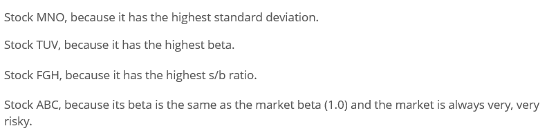 Stock MNO, because it has the highest standard deviation. Stock TUV, because it has the highest beta. Stock FGH, because it h