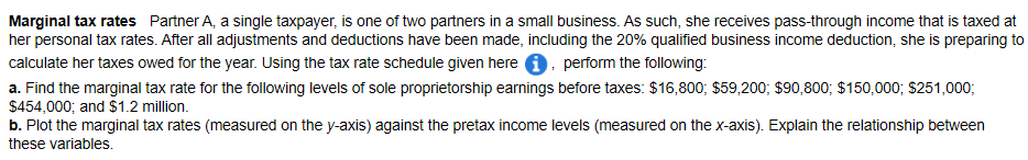 Marginal tax rates Partner A, a single taxpayer, is one of two partners in a small business. As such, she receives pass-throu