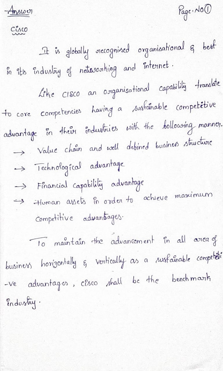 Answer Page: No Cisco & Like CISCO an а to core mannen. is globally srecognised organisational & best in its industry of netw
