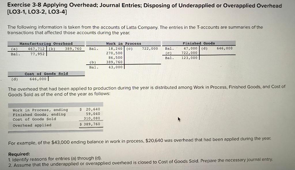 Solved Exercise 3 8 Applying Overhead Journal Entries D Chegg Com